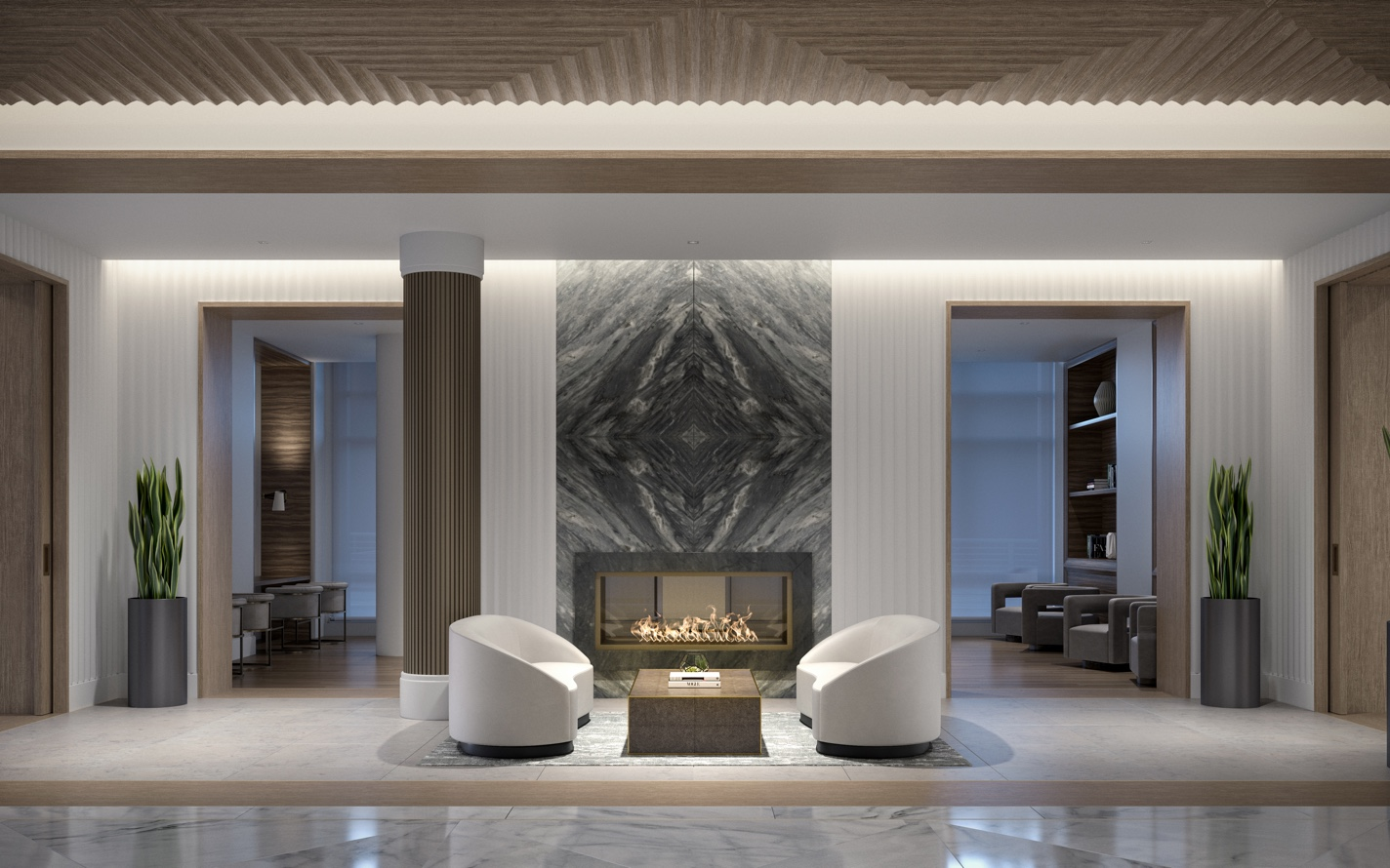 Glass encased fireplaces adorn 100 Shawmut's lobby