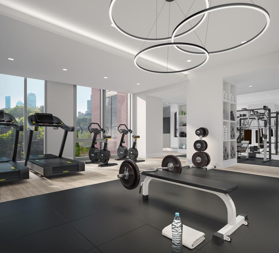 Workout room at 100 Shawmut