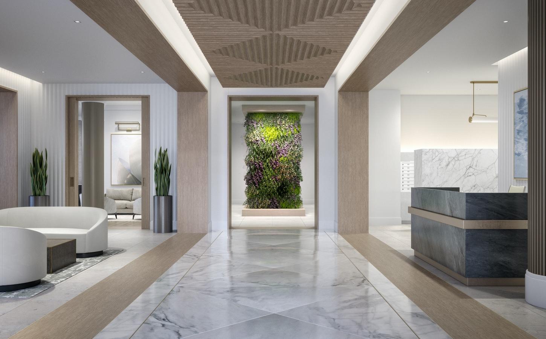 White marble lobby of 100 Shawmut