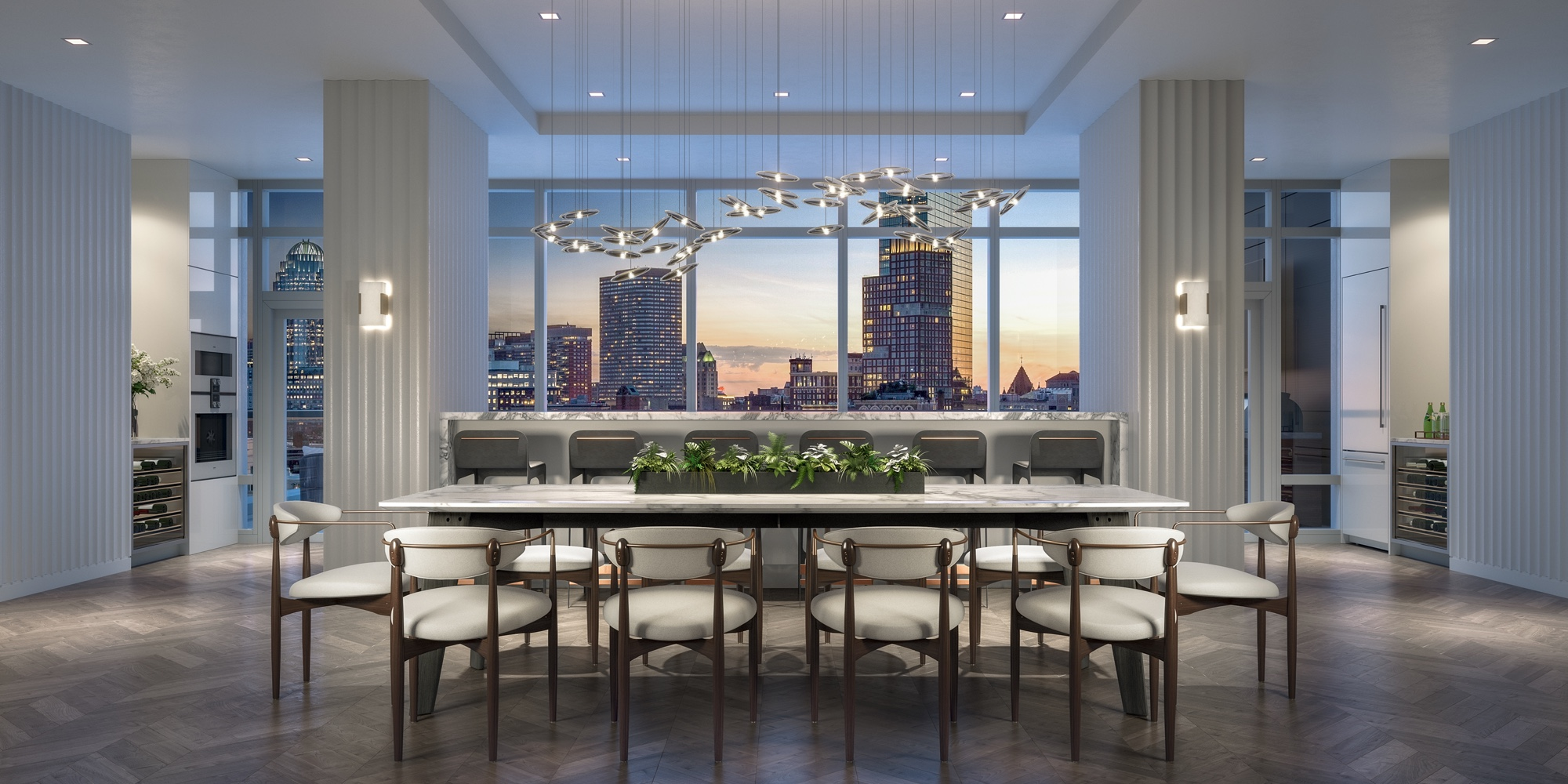 Interior view of dining room with view of Boston skyline