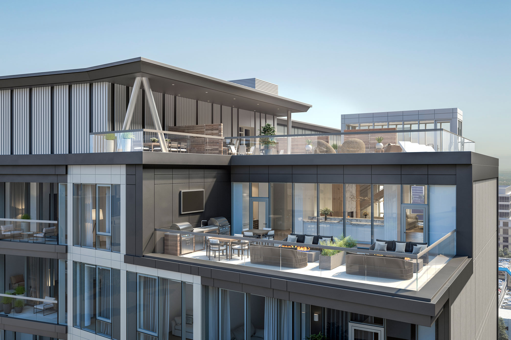 Exterior view of the 1st level of rooftop lounge area at 100 Shawmut