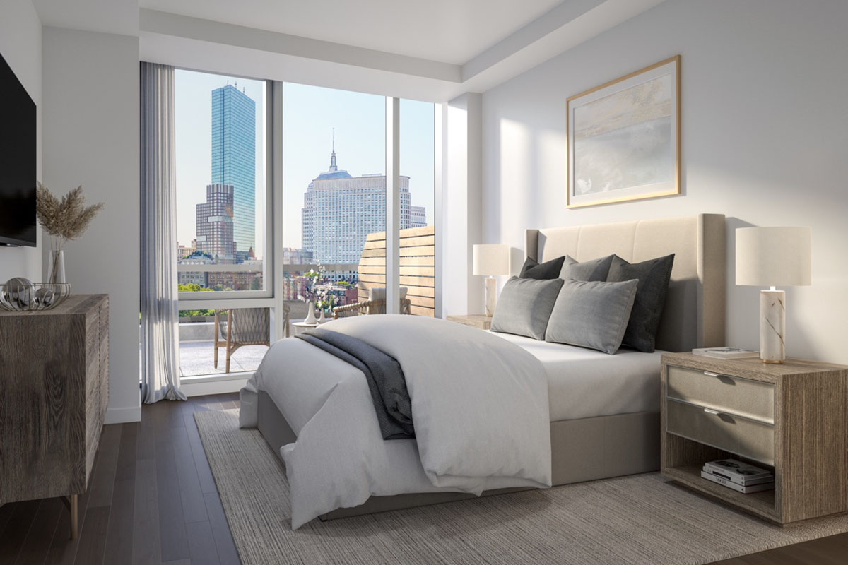 White and tan bedroom with city view and balcony