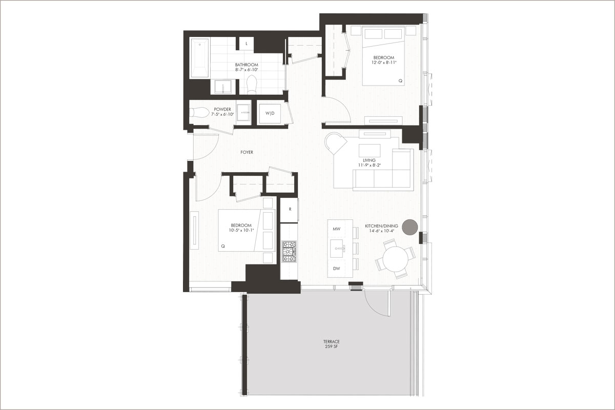 2 bedroom apartment with large terrace floorplan