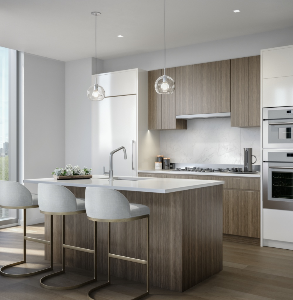 White kitchen with brown cabinets and white barstools