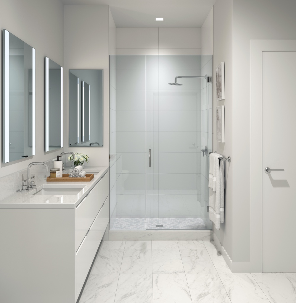 White marble bathroom with standing glass shower