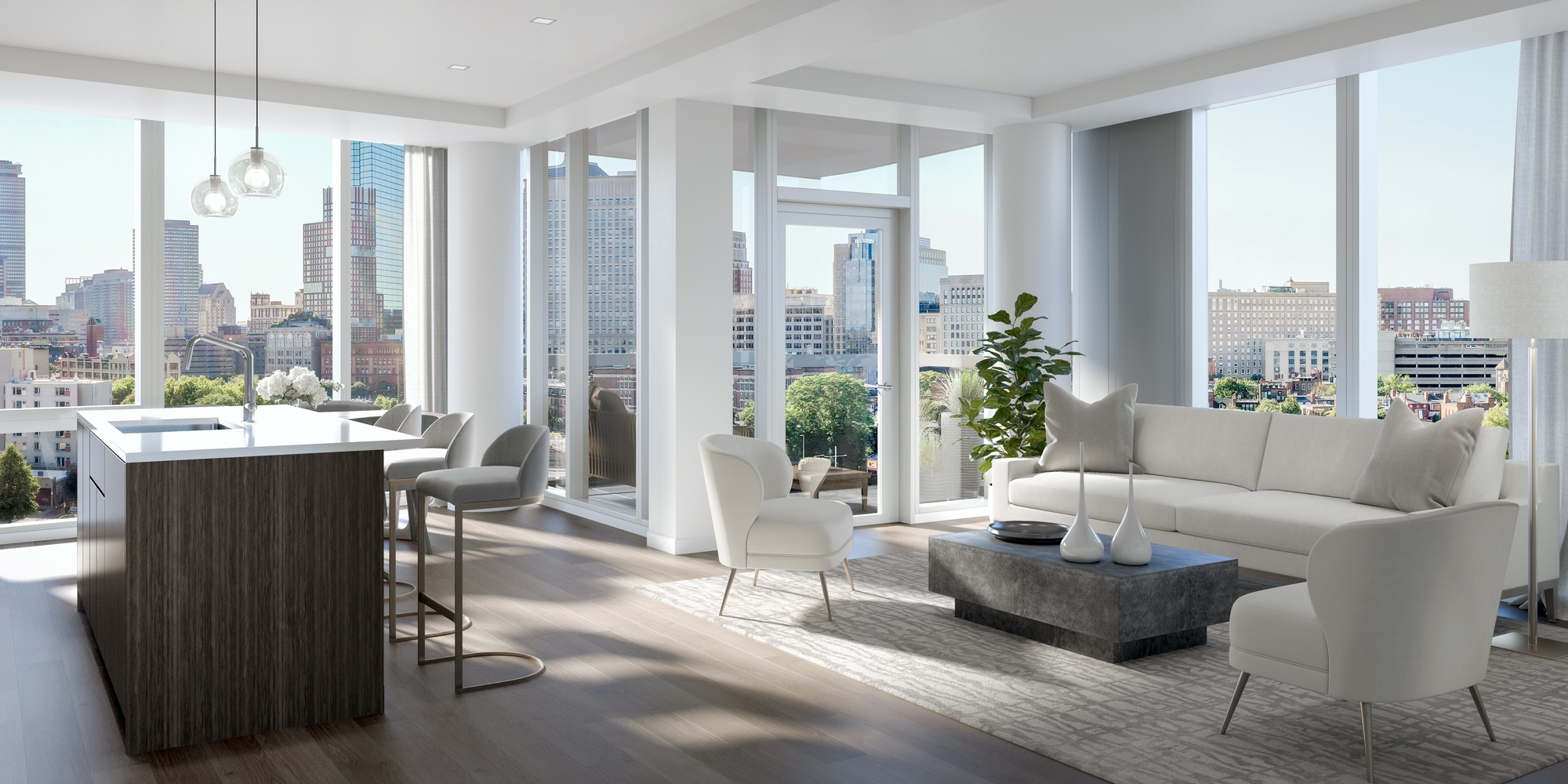 Bedroom in a 100 Shawmut unit with a large window overlooking Boston's South End