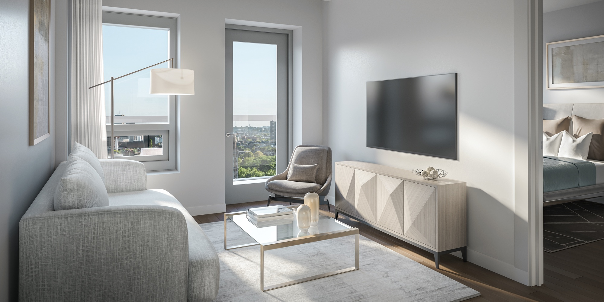Living space in a 100 Shawmut unit with patio overlooking downtown Boston