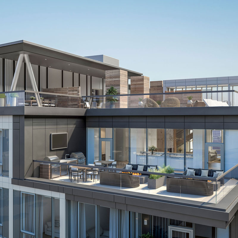 Exterior view of 100 Shawmut's two-story rooftop lounge with plenty of seating and outside grilling options