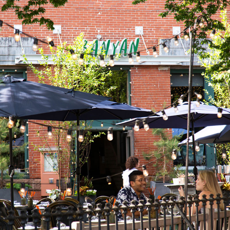 Exterior of local Boston cafe, Banyan, located near 100 Shawmut