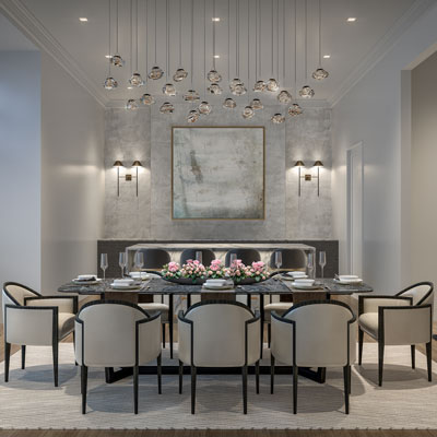 Large grey dining room table in a 100 Shawmut unit with 8 white chairs and decorative hanging light